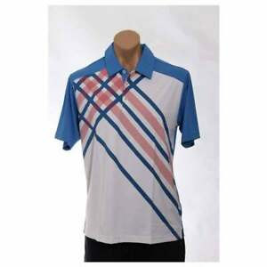 adidas-Climacool-Diagonal-Plaid-Polo-Athletic-Golf-Tops-Multi-Mens-Size-S
