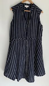 ONCE-WAS-SPENCER-LACY-linen-striped-dress-and-top-Size-4-14