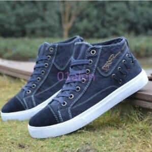 Mens-Leisure-High-Top-Sneakers-Denim-Canvas-Lace-Up-Plimsoll-Boots-Board-Shoes