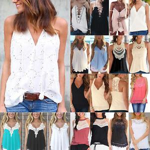 Women-039-s-Lace-Vest-Tank-Top-Summer-Beach-Blouse-Sleeveless-Shirt-Tee-Cami-Tops-AU