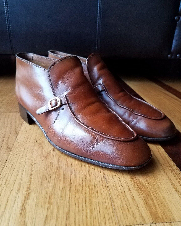 Vintage BALLY Brown Soft Pelle Monk Strap Ankle Stivali Wide Wide Wide 9.5 EEE Switzerland 501063