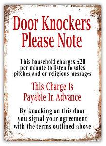 Image is loading Door-Knockers-Please-Note-Metal-Wall-Sign-Plaque-  sc 1 st  eBay & Door Knockers Please Note -Metal Wall Sign Plaque Art- Cold Caller ...