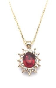 Necklace-Oval-Red-Crystal-Pendant-Yellow-Gold-Plated-Metal-Charm-20-034-Rope-Chain