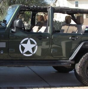 2 Decal Sticker For Jeep Wrangler Rubicon Army Military Jk Bar Arm