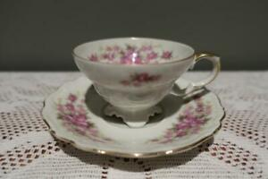 Edelstein-Germany-Lovely-Floral-Gilt-Demitasse-Cup-amp-Saucer-Duo-Vgc