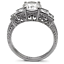 5 Stone Filigree Clear CZ Engagement Ring Stainless Steel TK316