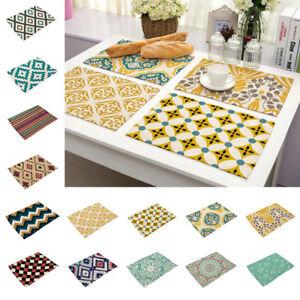 Cotton Linen Geometric Heat Resistant Placemats Table Mats Dining