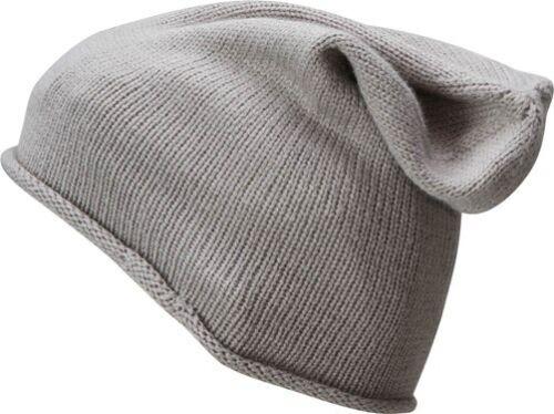 Damen Beanie Slouch Wintermütze Strickmütze Ripp Feinstrick Long Roll-Up