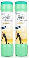 2 X GLADE SHAKE 'N' VAC MAGNOLIA & VANILLA CARPET CLEANING POWDER 500GM