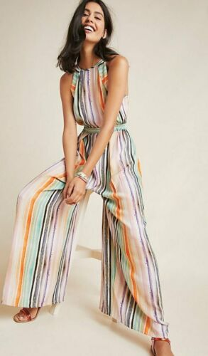 NEW ANTHROPOLOGIE MULTI COLOR STRIPED GALLERY ROW JUMPSUIT BY BL-NK SIZE MEDIUM