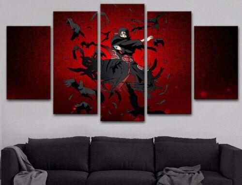 Itachi Uchiha Shinobi Naruto 5 Piece Canvas Print Poster HOME DECOR Wall Art