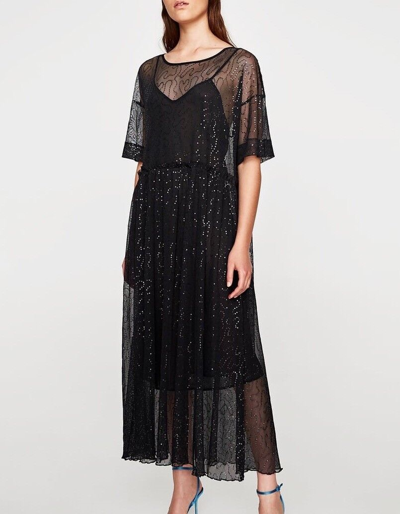 Zara AW17 Sequinned Tulle Dress Cover Up Beach Dress schwarz Größe M NWT