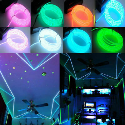 LED EL Wire Neon Glow String Strip Light Rope Controller Car Decor Dance Party T
