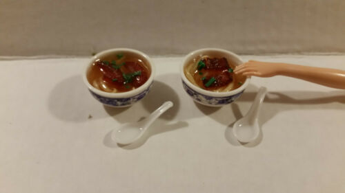 Barbie Doll 1:6 Kitchen Food Dishes Miniature Bento Box Steamers Soup Spoons
