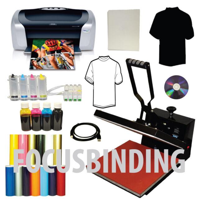 15x15 Heat Press Printer CISS Dye Ink Transfer Tshirts PU Vinyl Start-up  Bundle