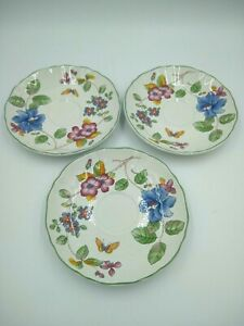Mikasa-Country-Classics-HEIRLOOM-Saucers-3-Butterfly-Flowers-Fine-China