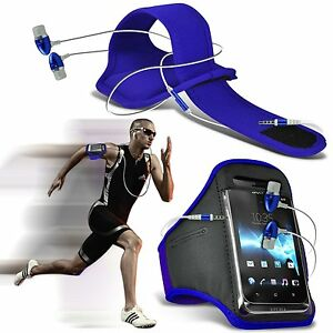 Quality-Sports-Armband-Gym-Running-Phone-Case-Cover-In-Ear-Headphones-Blue