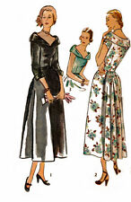 Vintage 1940s Sewing Pattern Sophia Loren Rolled Collar Dress WW2 Rare B 32""