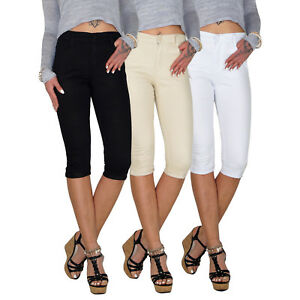 Damen-Stretch-High-Waist-3-4-Capri-7-8-Roehren-Jeans-Hose-Roehre-Ubergroesse-E119