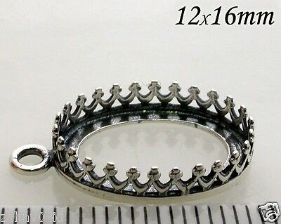 4pcs Quality Cast 16x12mm Bezel Cup Antique Sterling Silver 925 Oxidized (8165)