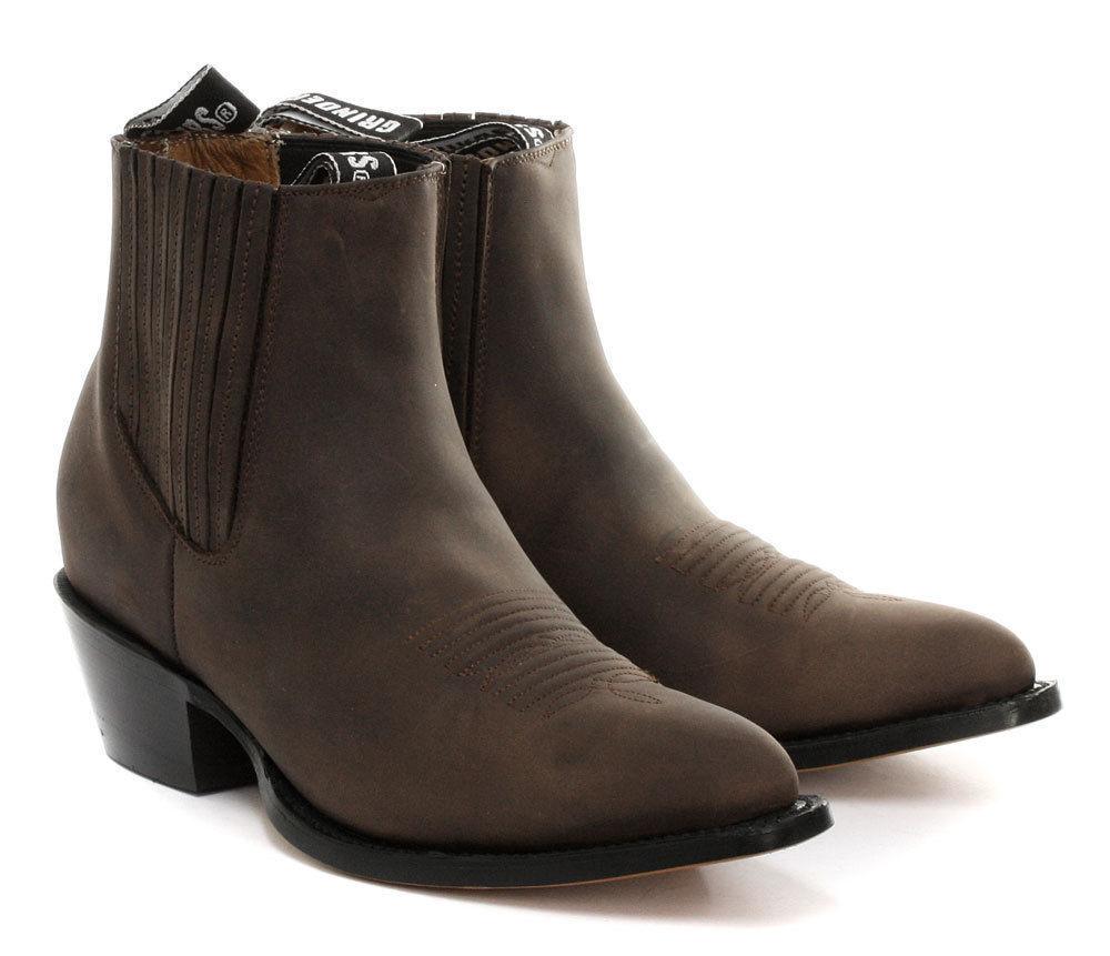 Grinders Herren Damen Maverick Braunes Leder Cowboy Biker Stiefeletten Schuhe