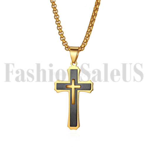 Mens Stainless Steel Double Layer Bible Lords Cross Pendant Lucky Necklace Chain