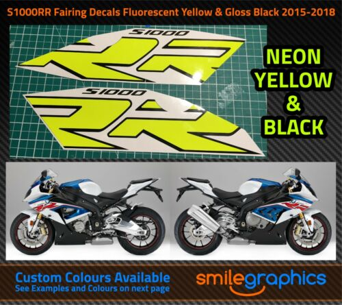 BMW S1000RR Fairing Decals Fluorescent Yellow /& Gloss Black Stickers 2015-18