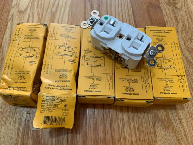 Lot 5 Hubbell HBL8300W Duplex Receptacle Hospital Grade 5-20R 20Amp  R Wiring Diagram on