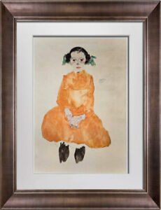 "Egon SCHIELE Lithograph ""Girl in a Yellow Dress"" SIGNED #'ed LIMITED w/FRAME"