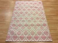 Pink Medina Plantation Silky Handmade Modern Trellis Designer Rug 120x170cm -45%