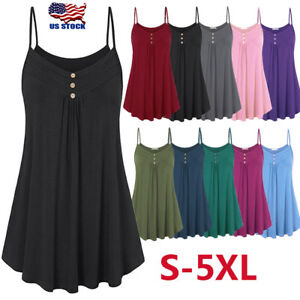 Women-Strappy-V-Neck-Cami-Vest-Tank-Tops-Ladies-Sleeveless-Plain-Swing-Shirt-US