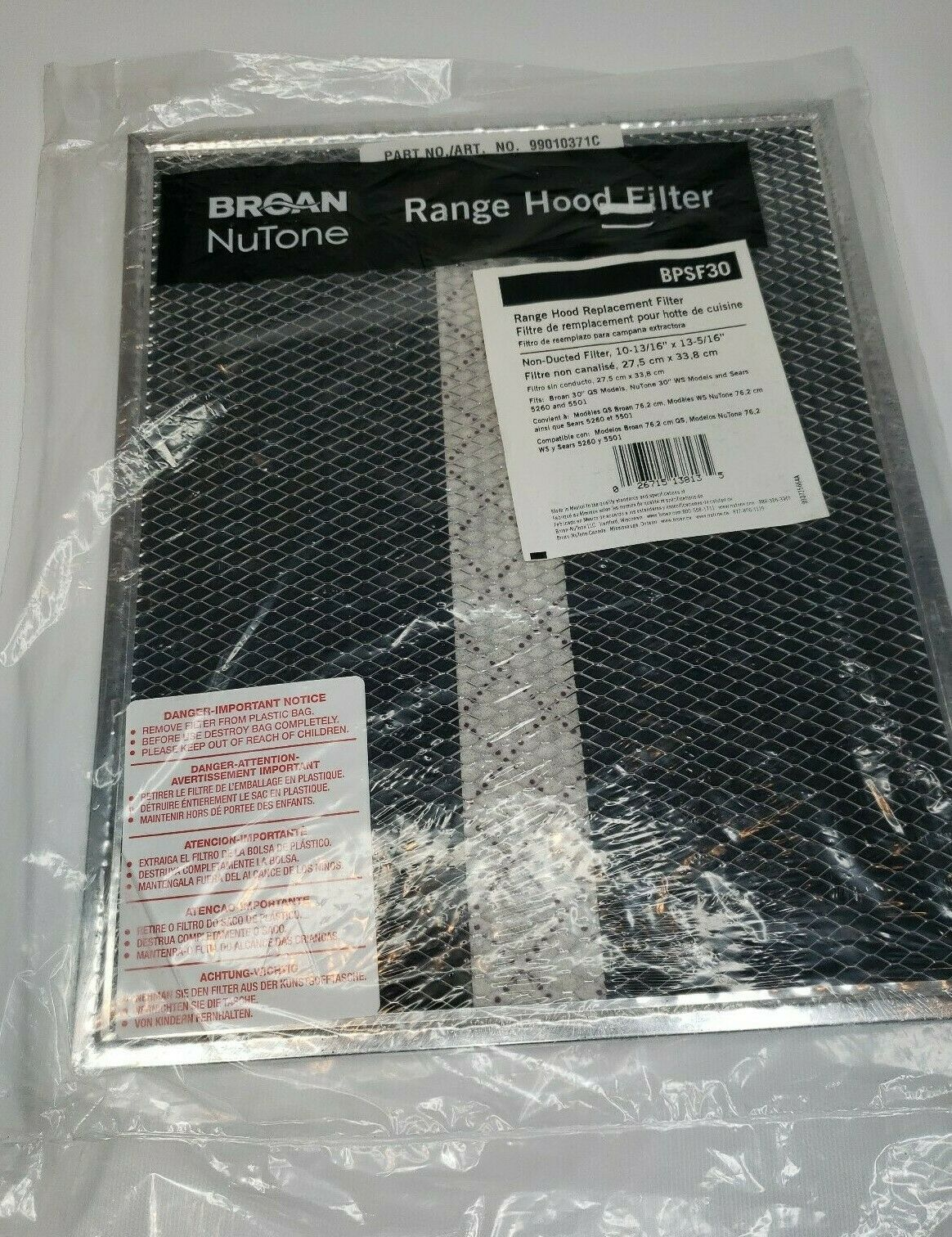 Broan Replacement Range Hood Filter Ducted 10-13//16  X 13-5//16 30