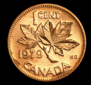 (2-coins) 1979  Canada   1 cent     Uncirculated  mint coin from roll