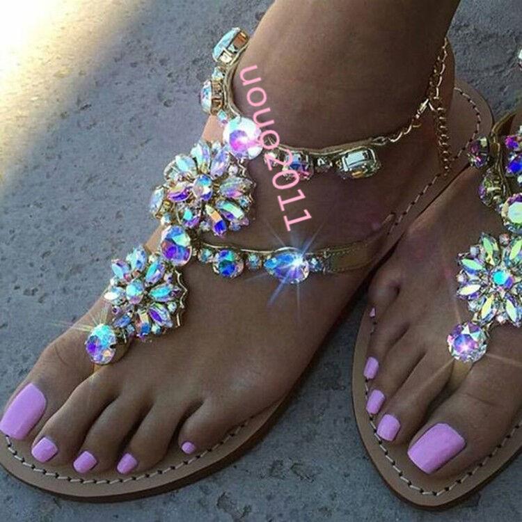 femmes Rhinestones Thong sandals Casual Flat slingback summer sandals chaussures SZ