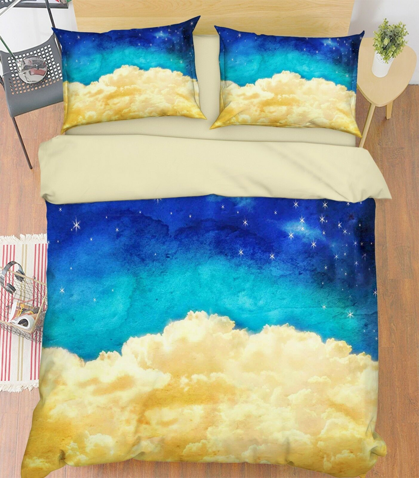 3D Night Sky Clouds 3 Bed Pillowcases Quilt Duvet Cover Set Single Queen King CA