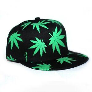 NEW Ganja Leaf Weed Print Snapback Hip Hop Baseball Cap Unisex  f32020271ee1
