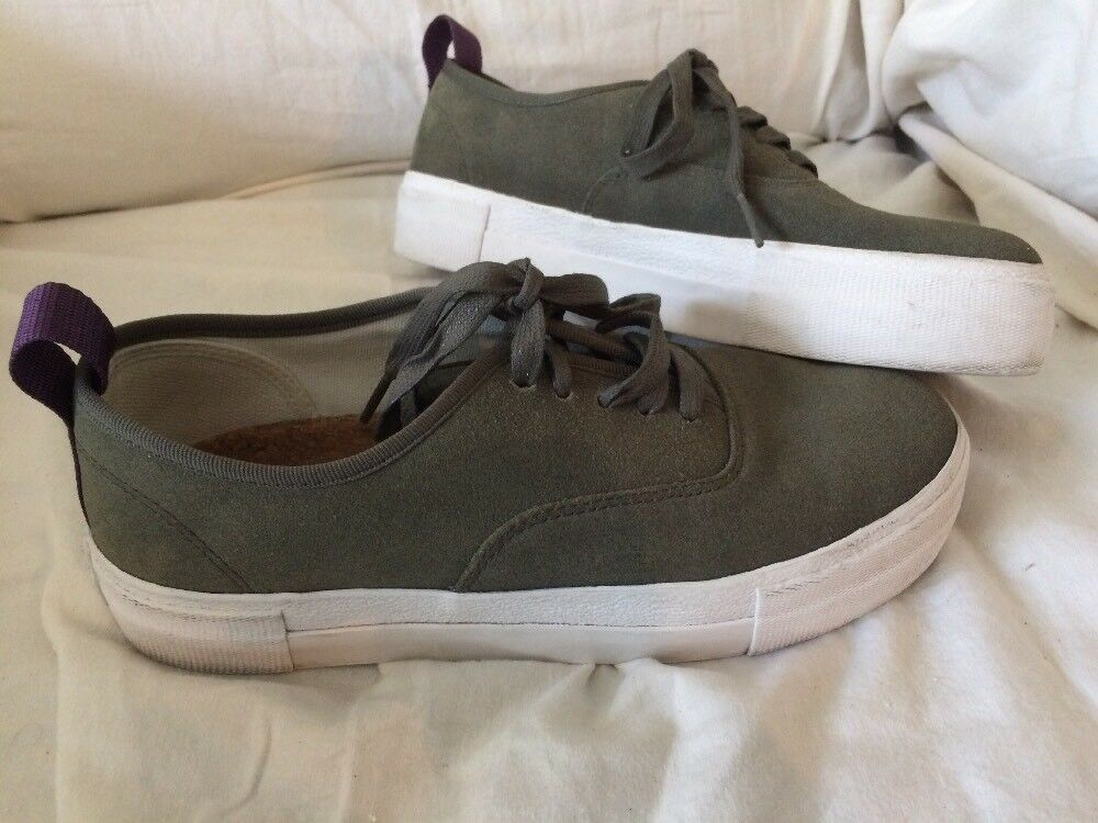 Eytys Womens Olive Green Canvas Low Top Sneakers Size 8.5