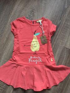 BNWT-Joules-Girls-9-12-Month-Summer-Dress-Short-Sleeve-Salmon-Pink-Pear-Design