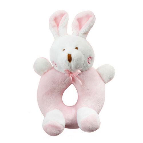 Baby Cartoon Rabbit Bear Plush Rattle Toy Newborn Hand Grasp Ring Bell Crib Doll