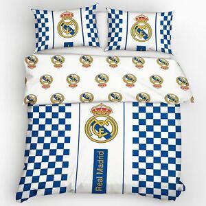 Officiel-Real-Madrid-Cf-Crest-a-Carreaux-Europeen-Housse-de-Couette-Double-Coton
