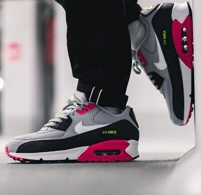 outlet store 4800e 90f15 Nike Air Max 90 Essential Sneakers Men's Lifestyle Shoes Grey Pink Volt |  eBay