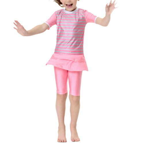 2pcs Kids Girls Swimwear Islamic Muslim Tops//Pants Swimsuit Beach Swimming Suit