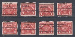 US Sc J77 used 1930 $1 Postage Due, NEWARK, NJ Precancel in 8 diff Positions