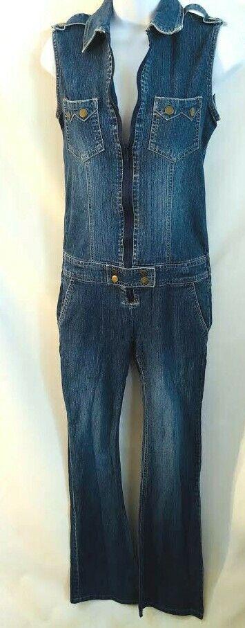 VTG Stephen Hardy Jeans Squeeze Stretch Dark Wash sleeveless denim jumpsuit 3/4