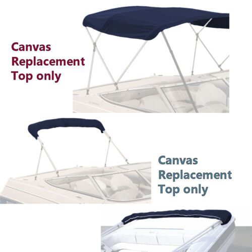 """BIMINI TOP BOAT COVER CANVAS FABRIC NAVY W//BOOT FITS 4 BOW 96/""""L 54/""""H 73/""""-78/""""W"""