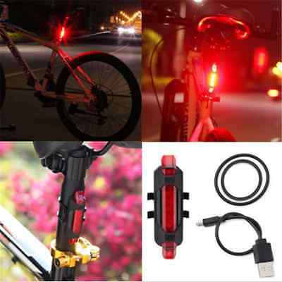 5 LED USB Rechargeable Bike Bicycle Cycling Tail Safety Warning Light IN US