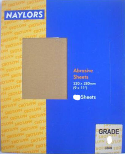 """Paper Sheets 9/"""" 11/"""" 10 x 230mm Naylors P100 Grit Glass Sand x 280mm"""