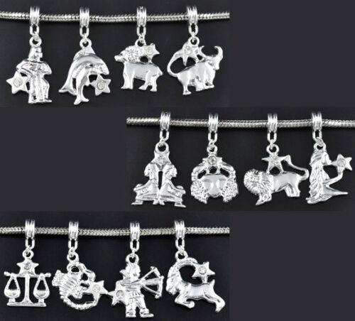 120 European Versilbert Strass Tierkreis Dangle Beads