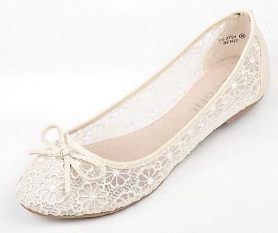 Ivory  Lace Wedding Ballerina Bridal Flat Pumps UK 3 4 5 6 7 7.5 8