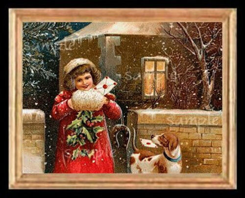 Christmas Girl n Puppy Miniature Dollhouse Picture